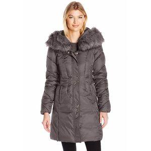 Via Spiga Luxurious Slate Fur Hooded Coat